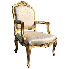 Antique French Louis XV Style Carved Giltwood Armchair Fauteuil