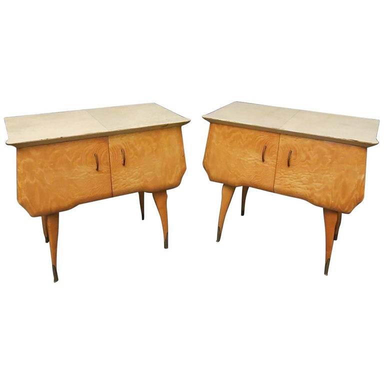 Pair of Midcentury Maple and Parchment Italian Bedside Tables, 1950 For Sale