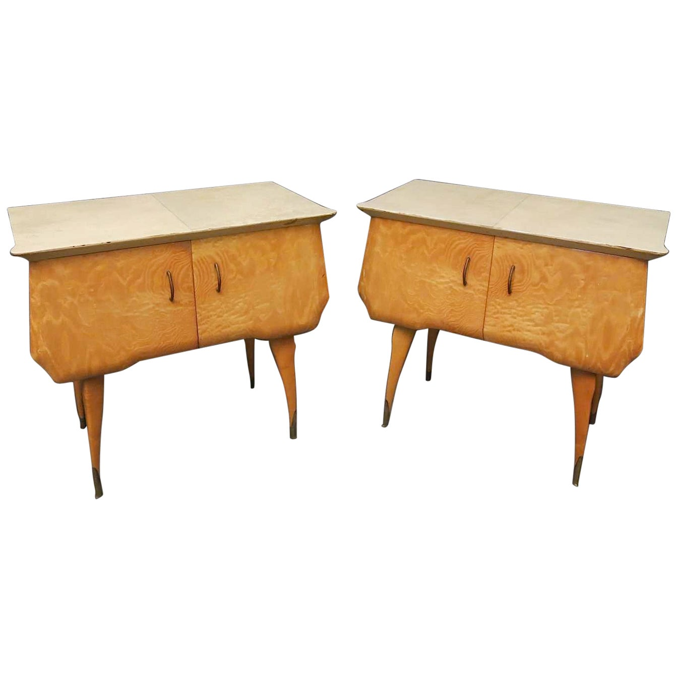 Pair of Midcentury Maple and Parchment Italian Bedside Tables, 1950