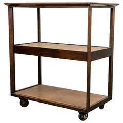 Finely Crafted Vintage Dunbar Tiered Walnut and Cork Rolling Cart