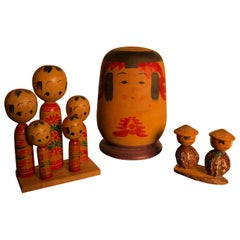 Family Eight Old Japanese Famous Kokeshi Dolls, All Hand Painted and Signed
