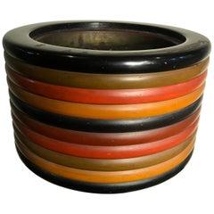 Japanese Big Antique Triple Color Lacquer Banded Planter Bowl