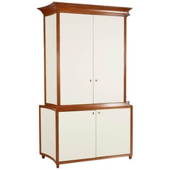 Neoclassical Mahogany and Faux Parchment Media Cabinet