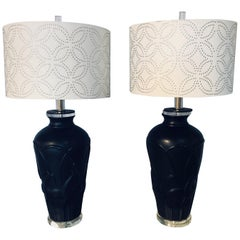 Pair of Art Deco Style Modern Black Table Lamps Lucite Base and Antelopes