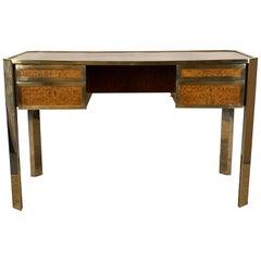Gucci Style Italian Chrome and Brass Desk