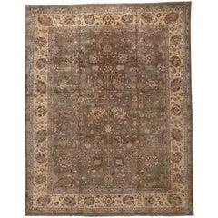 Traditional Pakistani Brown Wool Area Rug