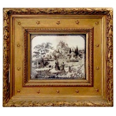 Antique Embroidered Italian Pastoral Scenic Framed Panel in Human Hair