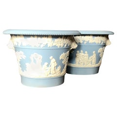 Pair of Blue and White Wedgwood Cachepots