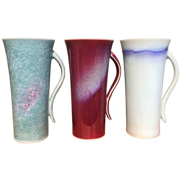 Set of Japanese Tall Hand-Glazed Porcelain Mug Cups by Master Artist, 2018