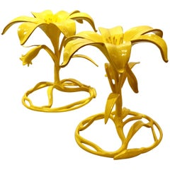 Pair of Arthur Court Lily Cocktail Tables Bases in Yellow