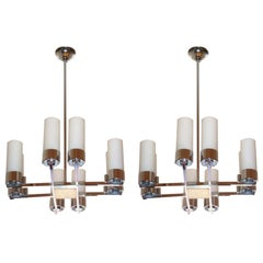 Pair of Jacques Adnet Chandeliers