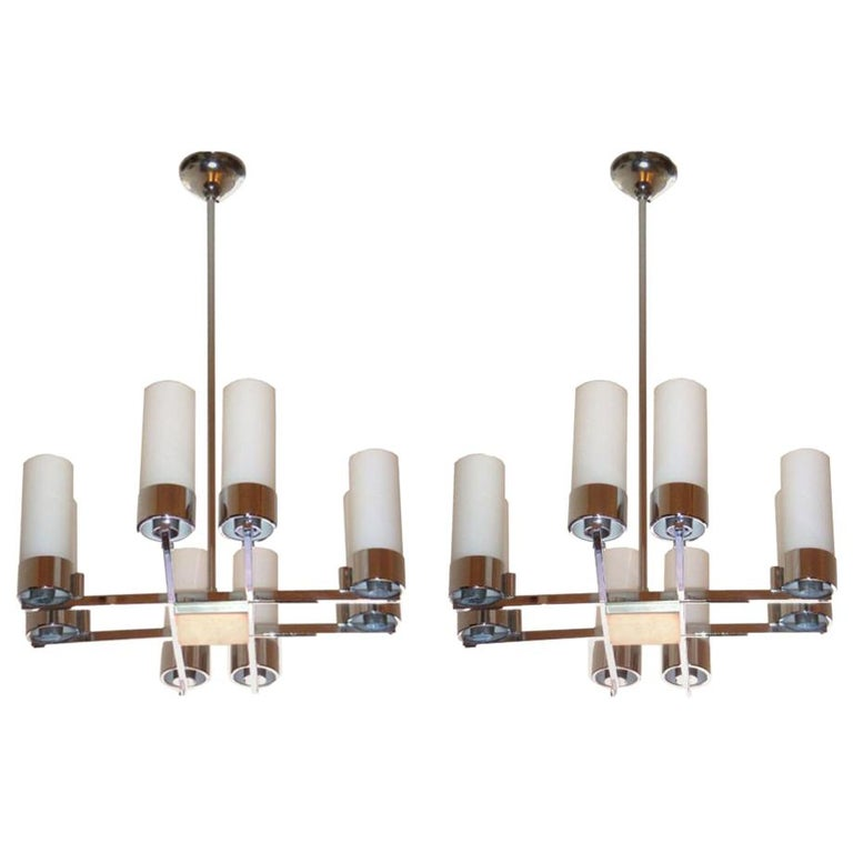 Pair of Jacques Adnet Chandeliers For Sale