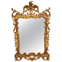 Vintage Gold Leaf French Louis XV Rococo Style Console Wall Mirror