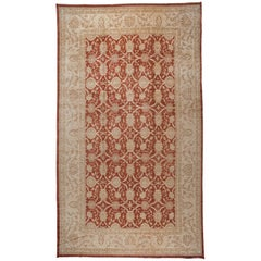 Traditional Pakistani Red Oblong Area Rug