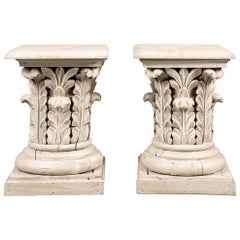 Pair of Carved Wood Column Capital End Tables
