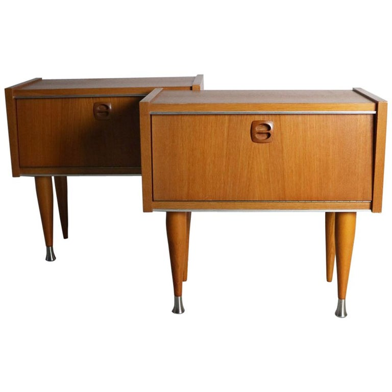 Pair of 1960s Midcentury French Bed Side Cabinets For Sale