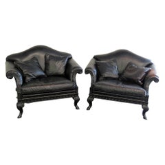 Pair of Stanford Rams Head Oversized Leather Armchairs