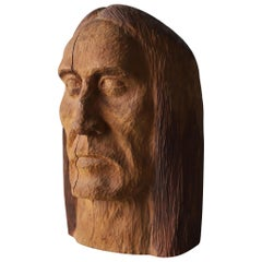 Hand Carved Wood Head