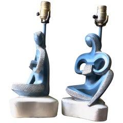 Scandinavian Modern Plaster Musician Lamp Pair in Blue, Fin Art, 1960s Atomic