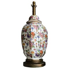 Chinoiserie Porcelain Gilt Floral Ginger Jar Hand-Painted Table Lamp, Monumental