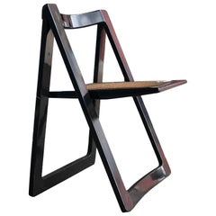 1960s Italian Minima Aldo Jacobsen Black Lacquer & Caning Trieste Folding Chair