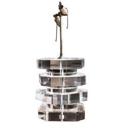 Karl Springer Monumental Lucite Stacked Plinth Geometric Minimal Table Lamp 1970
