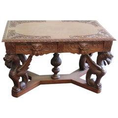 Oak Renaissance Style Winged Griffin Desk