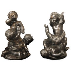 Lovely Pair of Late 19th Century Bronzes of Putti at Play