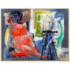 "Byron Browne 1951 Abstract Expressionist Mixed Media ""Untitled ( Nudes)"""