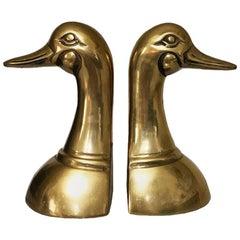 Cast Brass Duck Head Bookends a Pair