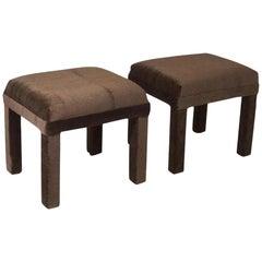 Minimal Brown Cube Mohair Stool Set Mid-Century Velvet Vintage Benches, Ottomans