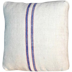 1940s Blue-Red Striped Pillow/ 2 st
