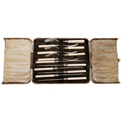 Beardshaw & Co. Sheffield Plate Faux Ivory Fruit Knives and Forks
