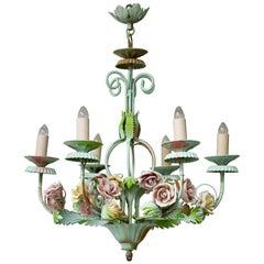 Italian Tole Chandelier with Flowers