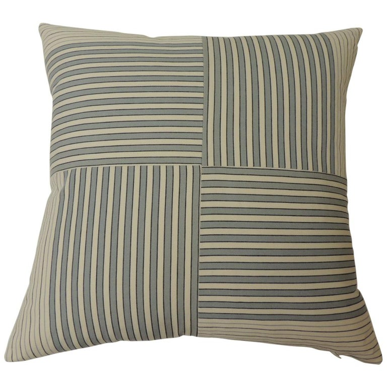 "Graphic Natural and Charcoal ""Parsons"" Stripes Decorative Pillows Double-Sided For Sale"