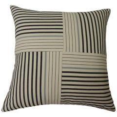 "Graphic Natural and Charcoal ""Parsons"" Stripes Decorative Pillows Double Sided"