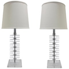 Pair of Sculptural Stacked Lucite Table Lamps, 1970s