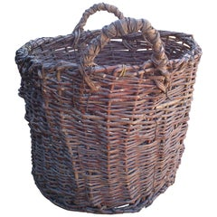 1900s Antique Basket with Handles from a Small Town in Hungary
