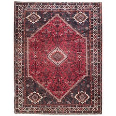Vintage Hand-Knotted Persian Geometric Shiraz Red Rug, circa 1960s