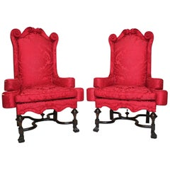 Rare Pair of English 19th Century William & Mary Style Mahogany Throne Armchairs