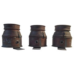 Vintage Nautical Copper Wall Lights with Colored Glass, France 1940s, Set of 3