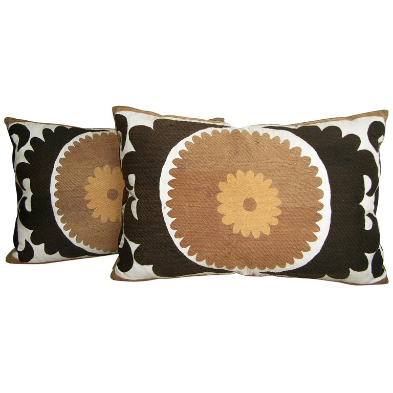 Pair of Suzani Pillows, circa 1920  1587p   1588p  :   Y & B Bolour For Sale