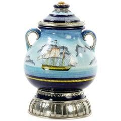 Handmade Galleon Jar, Ceramic and White Metal 'Alpaca', One of a Kind