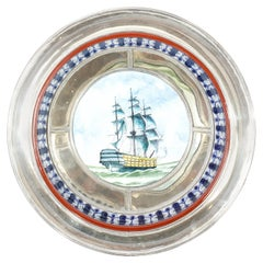 Ceramic and White Metal 'Alpaca' Galleon Bowl