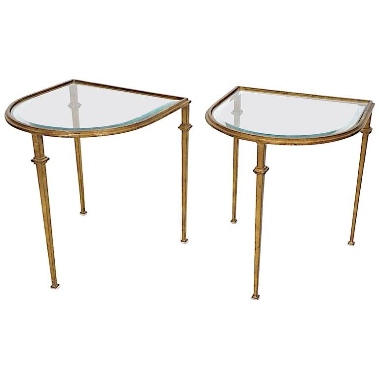 Pair of Italian Gilded Iron Tables with Beveled Crystal Top For Sale