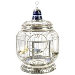 Alpaca White Metal Ceramic Bird Cage, One of a Kind