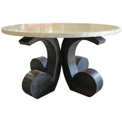 Reflective Abalone Table with Octopus-Like Metal Base