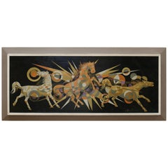 Multicolored Kaleidoscope Style Horses Painting Signed Badilla
