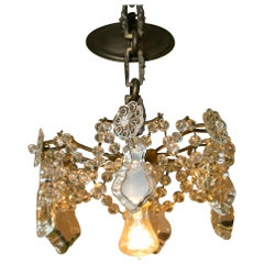Antique Gilt Brass and Crystal Chandelier