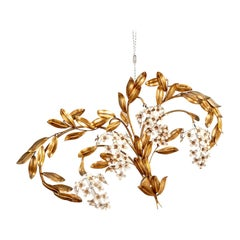 Gilt Leaves and White Flower Appliques with Four Lights